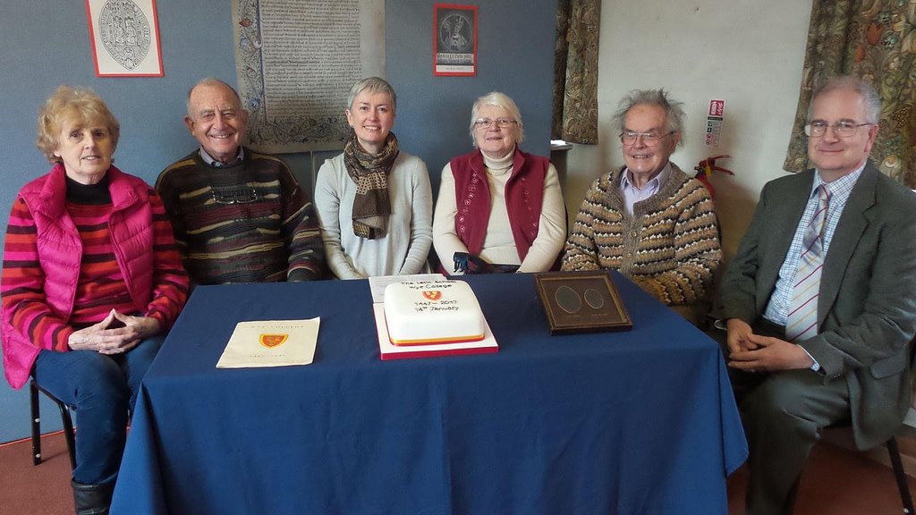 Members of the committee marking the anniversary of the signing of the College Statutes on the 14th January 1447