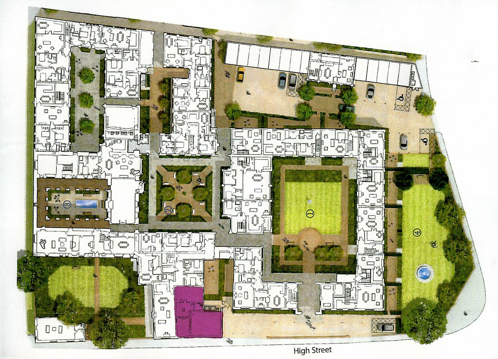 The College – proposed re-purposing of the Medieval and Edwardian building, with the new Heritage Centre shown in purple